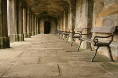 External Corridor. Of a stately home in Derbyshire, England royalty free stock images