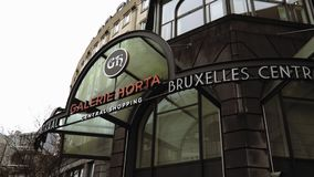 Brussels, Belgium Galerie Horta and Moof comic museum entrance. External day view of passage to La Galerie Horta and the MOOF modern museum of original stock footage