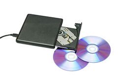 External dvd drive and disks Royalty Free Stock Photos