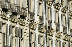 External facade of a historic building. In Turin in Italy Royalty Free Stock Images