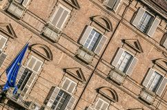 External facade of a historic building. In Turin in Italy Royalty Free Stock Photos