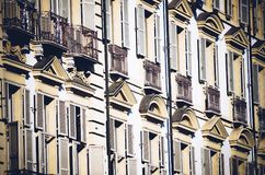External facade of a historic building. In Turin in Italy Stock Image