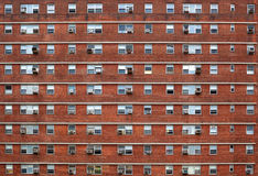 External facade with many windows all identical. Stock Photography