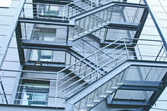 External fire escapes. In a modern building stock images