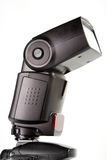 External flash mounted on camera top Stock Image