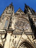 External gotic Cathedral in Prague, aug 17 2017. External gotic Cathedral with sun light in Prague, aug 17 2017 Royalty Free Stock Photo