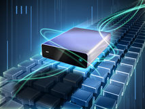 External hard disk. Hard disk enclosure flying through a beautiful cyber scene with rows of cubes and glowing lines. Digital illustration stock illustration