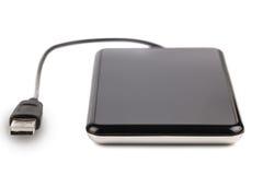External hard disk. Black external hard disk on white background Stock Images