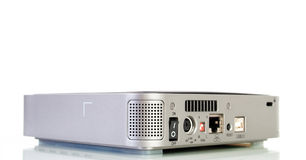 External hard disk drive. Close-up view to external hard disk drive with USB, and LAN connectors on white background Stock Photo