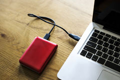 External Hard disk drive connect to laptop Royalty Free Stock Images