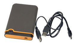 External hard disk drive. On white background Stock Photos
