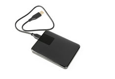 External hard disk drive on white background . External hard disk drive on white background Royalty Free Stock Image