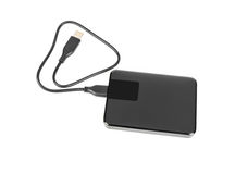External hard disk drive on white background . External hard disk drive on white background Royalty Free Stock Images