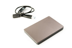 External Hard Disk USB 3.0 on isolated. White background Stock Images