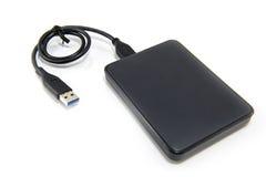 External Hard Disk on White background. Black External Hard Disk on white background stock photos