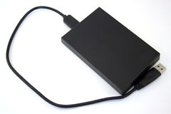External hard disk on the white background. Data storage support Stock Photos