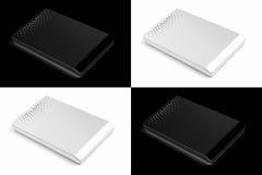 External hard disks. Black and white concept of external hard disks stock images