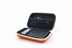 External hard drive carrying case. Bags for external hard drive. Stock Photography