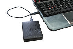 External hard drive connected to laptop Stock Image
