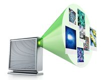 External hard drive with projected photos. 3D illustration Stock Photo