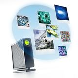 External hard drive with projected photos. 3D illustration Royalty Free Stock Images