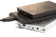 External hard drive with usb cable Stock Image