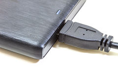 External hard drive with usb cable Stock Photo