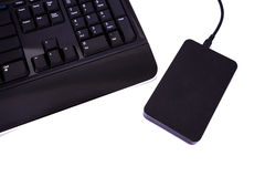 External Harddisks and keyboard black color Royalty Free Stock Image