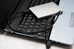 External HDD and laptop Stock Photo