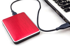 External HDD over notebook keyboard Royalty Free Stock Images