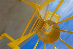 External Ladder System Painted Security Yellow Royalty Free Stock Photography