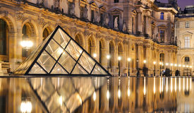 External night view of the Louvre Museum (Musee du Louvre) stock photography