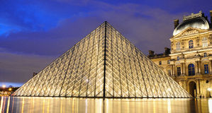 External night view of the Louvre Museum (Musee du Louvre) royalty free stock images