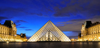External night view of the Louvre Museum (Musee du Louvre) Stock Photo