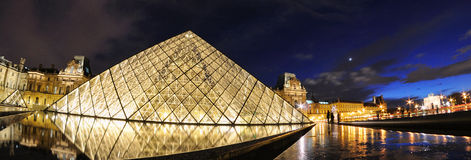 External night view of the Louvre Museum (Musee du Louvre) Stock Images