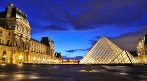 External night view of the Louvre Museum (Musee du Louvre) Stock Image