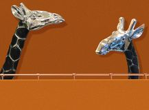 Orange wall with  giraffes. External orange walls with chrome handrail and two giraffe Stock Image