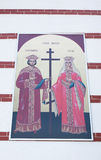 The external painting of the church of Saints Constantine and Helen Stock Photo