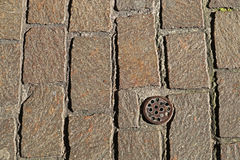 External paving. With a drain for rainwater royalty free stock image