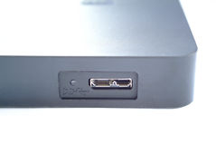 External portable hard disk. In the black case stock photography