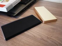 External power Bank for charging smartphones and other devices. Serve to recharge the battery. Details and close-up stock images
