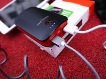 External power Bank for charging smartphones and other devices. Serve to recharge the battery. Details and close-up royalty free stock photography