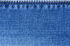 External Seams Yellow And Blue Colors On Jeans Fabric. Royalty Free Stock Image