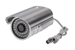 External security surveillance camera with night vision LED back Royalty Free Stock Photo