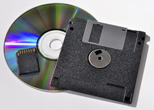 External storage devices. Optical disk, floppy disk, memory card Cg, coarsely on a white backgroun Stock Images