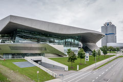 External view of BMW Museum. Diurnal view of BMW Museum in a cloudy summer day Royalty Free Stock Photo