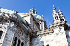 External view of the domes and spires of the Duomo of Como with. Blue domes. Late gothic architecture in northern Italy Royalty Free Stock Photos