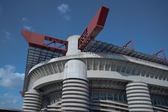 External view of Giuseppe Meazza San Siro Stadium. Particular of corner side of the San Siro Giuseppe meazza stadium historic football arena royalty free stock photo