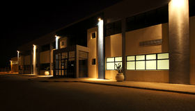 External view of Modern warehouse at night Royalty Free Stock Image