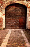 External view of old doorway in italian farrmhouse.  Royalty Free Stock Photo